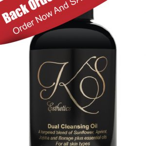 "Duel cleansing oil with red banner reading ""back order until 2021 order now and save 10%"""