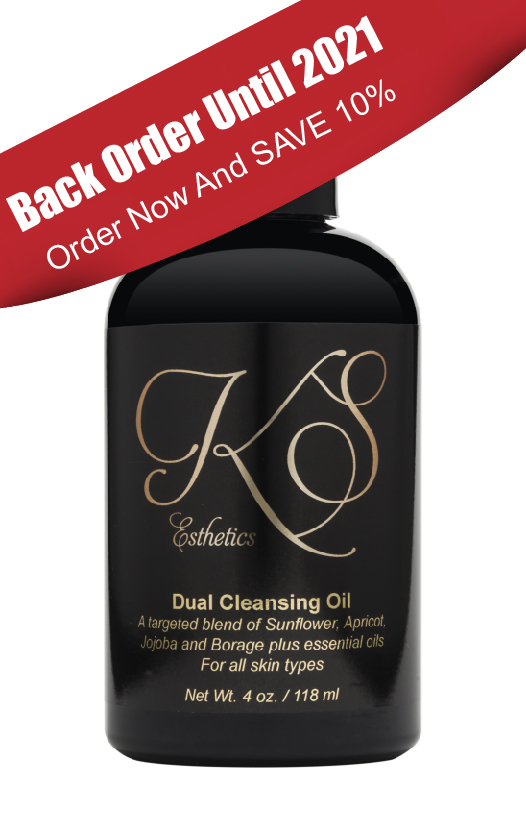 """Duel cleansing oil with red banner reading """"back order until 2021 order now and save 10%"""""""